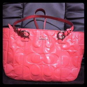 COACH Embossed Patent Leather Tote, GUC